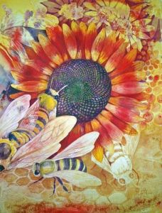 sunflower-bees-honey