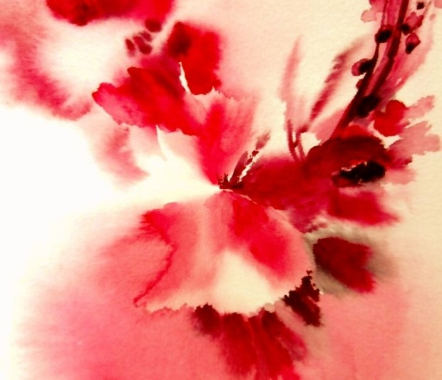 bloody-red-floral-painting